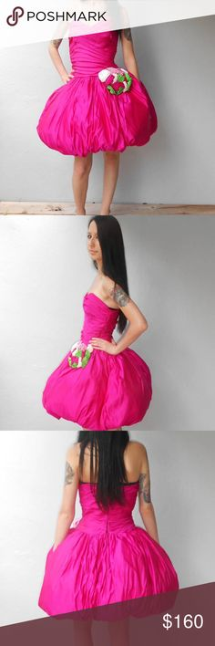 1980s hot pink satin rose strapless bubble dress STUNNING!!! 😍😍😍.  Size XS.  Mint condition. Beautifully made by Joseph Jones Couture. Dresses Strapless