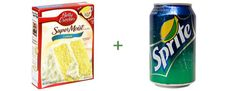 Soda and cake infinite combos, plus cuts out the fat regular or diet soda in multitude of flavors can create specialty cake flavors use your imagination! *I did this with a duncan heins yellow cake mix and 12 oz sprite. Turned out so yummy and perfect! Cake Mix And Soda, Soda Cake, Lemon Cake Mixes, Yellow Cake Mixes, Beignets, Sprite Cake, Two Ingredient Cakes, Cherry Chip Cake, Creamsicle Cake
