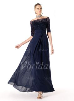 Mother of the Bride Dresses - $160.31 - A-Line/Princess Off-the-Shoulder Floor-Length Chiffon Tulle Mother of the Bride Dress With Lace Beading (00805020642)