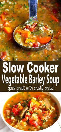 This Slow Cooker Vegetable Barley Soup Recipe Couldnt Be Easier. Simply Throw Everything In The Crockpot And Walk Away Healthy, Delicious And Packed With Nutrients. 164 Calories And 4 Weight Watchers Freestyle Sp Vegetarian Vegan Easy Best Veggie Simple Vegetarian Crockpot Recipes, Healthy Crockpot Recipes, Slow Cooker Recipes, Veggie Soup Recipes, Vegan Recipes, Best Soup Recipes, Chili Recipes, Slow Cooking, Vegetable Soup Crock Pot