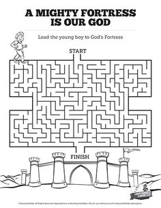 Fun and challenging this A Mighty Fortress is our God Bible Maze is going to be a hit with your class. A great addition to your upcoming Psalm 91 lesson, this Kids Bible activity is just what you have been looking for! Bible Activities For Kids, Bible Stories For Kids, Bible Lessons For Kids, Bible For Kids, Bible Games, Kids Sunday School Lessons, Sunday School Crafts, Reformation Sunday, Martin Luther Reformation