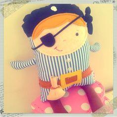 $35.00 Bruno the Pirate Blue by pinkpug on Handmade Australia