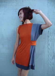 Spicy Toast SALE ----- Miss Oxanna Dress future retro red draped. $30.00, via Etsy.