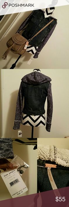 Free People hooded denim jacket Super cute!  PRICE IS FIRM Free People Jackets & Coats Jean Jackets