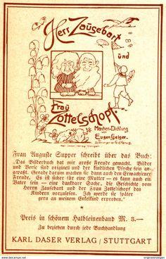 Werbung - Original-Werbung/ Anzeige 1925 - EUGEN GEIGER: HERR ZAUSEBART-FRAU ZOTTELSCHOPF /DASER VERLAG STUTTGART- ca. 65 x 110 mm