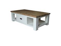 Dover salontafel met lade. Landelijke salontafel met eiken bovenblad en wit onderstel. Uit voorraad leverbaar.