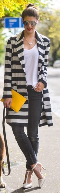 Asos Black And White Spring Oversize Striped Coat with simple white tee & dark skinny jeans & a sunshine yellow clutch for a POP of color.