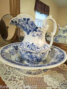 RP: Antique Victorian Flow Blue Transferware Wash Pitcher & Bowl   | eBay.com
