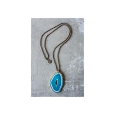 Dottie Antique Necklace with Teal Agate Geode Center