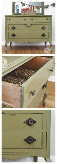 """This Vintage Dresser has been painted with Dixie Belle Chalky Paints in """"Holy Guacamole"""". I wouldn't have picked this color on my own so I'm glad a sample was sent to me. It's a gorgeous antique green that I'll definitely be using again!"""