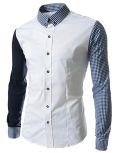 (CE82-WHITE) Slim Fit 2 Tone Checker Patched Stretchy Long Sleeve Shirts