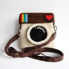 surreal crochet - Google Search cool geek chic polaroid camera crochet purse or camera case design cartoon trend fashion for alice must find one its so cute