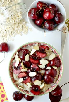 Cherry-Almond Cookie Dough Oatmeal via @Ann Brincks Girl Eats