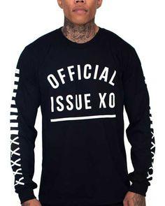 OFFICIAL ISSUE XO TREAD MARK UNISEX LONGSLEEVE BLACK