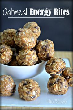 Oatmeal Energy Bites No Bake - 1 cup rolled oats, 1/2 cup almond butter (or substitute peanut butter), 1/2 cup chocolate chips, 1/3 cup raw honey, 1/4 cup ground flax seed