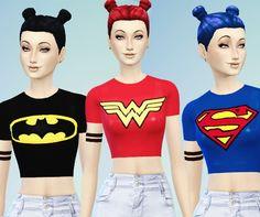 Superheros t-shirts set at Simspunk via Sims 4 Updates