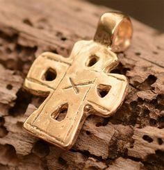 Old World Cross in Gold Bronze,  Bronze Coptic Cross