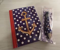 ANCHOR JOURNAL DIARY NOTEBOOK + MATCHING PEN NAUTICAL COASTAL RED WHITE BLUE NIP