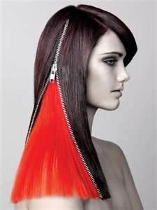 hair art style - via Milano. This looks cool but not sure people can do that in real life with their hair. Black hair, zipper parting revealing bright red hair. Creative Hairstyles, Cool Hairstyles, Avant Garde Hairstyles, Crazy Hair Days, Editorial Hair, Fantasy Hair, Hair Shows, Wild Hair, Beauty Tutorials