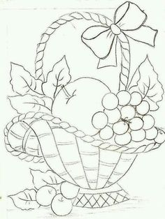 68 Ideas For Fruit Basket Drawing Paintings Hand Embroidery Patterns, Applique Patterns, Vintage Embroidery, Ribbon Embroidery, Embroidery Stitches, Machine Embroidery, Fruit Basket Drawing, Coloring Books, Coloring Pages