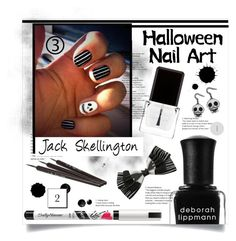 """""""Nightmare Before Christmas Nails"""" by bitty-junkkitty ❤ liked on Polyvore featuring beauty, Sally Hansen, Deborah Lippmann, Context and Disney"""