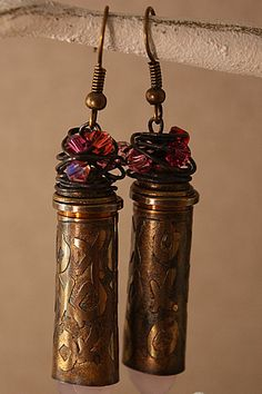 Beautifully Etched Bullet Casing Earrings  Pink by wingsnscales, $22.00