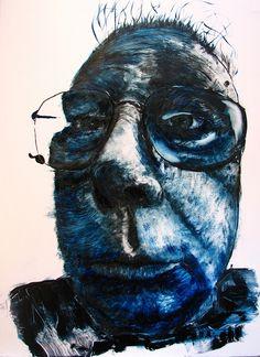Self-portrait of a blue gargoyle by Harry Kent, via Flickr