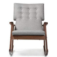 Featuring Scandinavian style with modern aesthetic, this rocking chair features upholstered high back cushioned seat with button tufting design. The rocking base of the chair is constructed of solid rubberwood in dark walnut finishing for a truly retro feel. The sculpted armrests provide strong support for extra comfort after a long day. This piece, looks smart, modern, but comfortable can be a good rocking chair for nursery during middle of the night feedings and yet a pretty piece of…