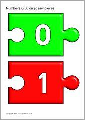 Numbers 0-50 on jigsaw pieces (SB6101) - SparkleBox