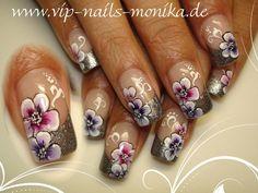 Flowers, one stroke by vipnailsmonika - Nail Art Gallery nailartgallery.nailsmag.com by Nails Magazine www.nailsmag.com #nailart