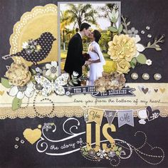 Image result for Simple Wedding Scrapbook Layouts
