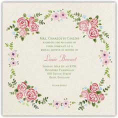 Rose Garland - Paperless Post : Flower, floral, watercolor, pink : bridal shower invitation