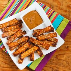 Baked Sesame Tofu Sticks with Peanut Butter, Tahini, and Ginger Sauce (Vegan) | Kalyn's Kitchen®