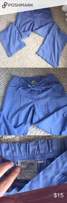 Grey's Anatomy light blue scrub pants. Size XS Light blue scrub pants. Two pockets in front and back. Elastic waist with string ties super comfy. In good condition! Grey's Anatomy Pants