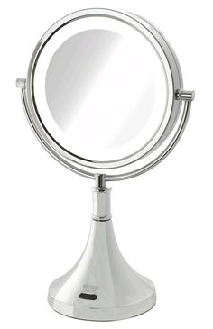 Sharper Image makes this rechargeable battery-powered makeup mirror that also runs on the included AC adapter.  And it can be charged by USB.  The mirror is reversible with 8x magnification on one side and an non-magnified mirror on the opposite side.  To top it all off, it has a sensor that turns the LEDs  off when you leave its vicinity.