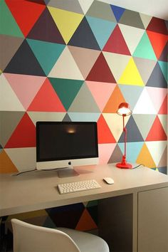 colorful geometric home office