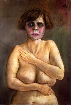 Otto Dix (German 1891–1969) [German Expressionism, Neue Sachlichkeit] Half-Nude, 1926, oil and tempera on wood, 28 3/4 x 21 5/8 inches, Private Collection.