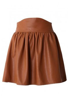 Camel Faux Leather Skater Skirt by Chic+  So glad it's fake leather! Beautiful! I'd love to have one!