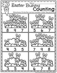 Preschool Counting Worksheets for Easter - Easter Bunny Counting #easter #preschool #easteractivities #easterpreschool #planningplaytime #easterworksheets #preschoolmath #countingworksheets