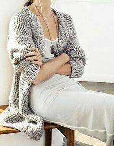 chunky wool fall cardigan over slip dress