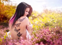 Tattoo, ink, butterfly, flowers, pink, girl, model