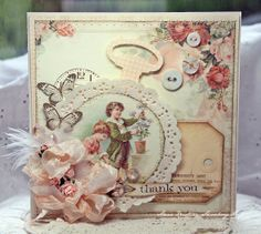 Anne's paper fun: Vintage Cafe Card Challenge-I love the Tim Holtz die cut on this card