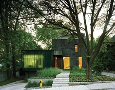 modern house exterior design with green screen