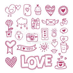Love icons and symbols hand drawn doodles. Wedding and Valentine's day royalty-free stock vector art