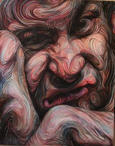 Swirling Lines Form Psychedelic Portraits - Self-Portraits and Liquid Friends, swirling brush stroke paintings by Nikos Gyftakis