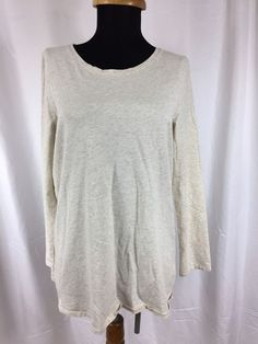 Pure Jill J.Jill Made in Peru Pima Cotton Spandex Cream Gray Long Sleeve Top - M #JJill #KnitTop #Casual