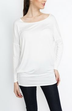 White Knit Long Sleeve Top - #WholesaleTops, #Casual #DayTops, #Solid, #Dressy #Chic #Trendy, #Spring #SpringWear, #CloseoutTops