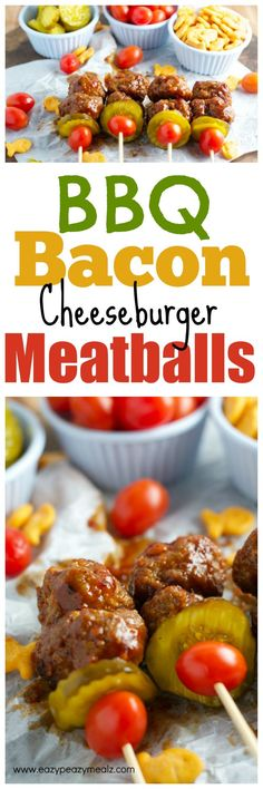 BBQ Bacon Cheeseburger Meatballs: These are perfect for game day, tailgating, snacks, and more! Serious flavor with minimal work. - Eazy Peazy Mealz use sharp cheddar instead of fish and leave out BBQ sauce yum! Tapas, Bbq Bacon, Cooking Recipes, Healthy Recipes, Game Day Food, Ground Beef Recipes, Appetizer Recipes, Holiday Appetizers, I Love Food