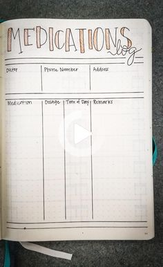 Medications log bullet journal by fritschekj Bullet Journal Vacation, Bullet Journal Health, Bullet Journal Weight Loss Tracker, Bullet Journal Notebook, Bullet Journal Inspiration, Bullet Journals, Bullet Journal Printables, Bullet Journal Layout, Bullet Journal Ideas Pages