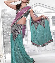 Buy Pink and rama embroidered net saree with blouse party-wear-saree online